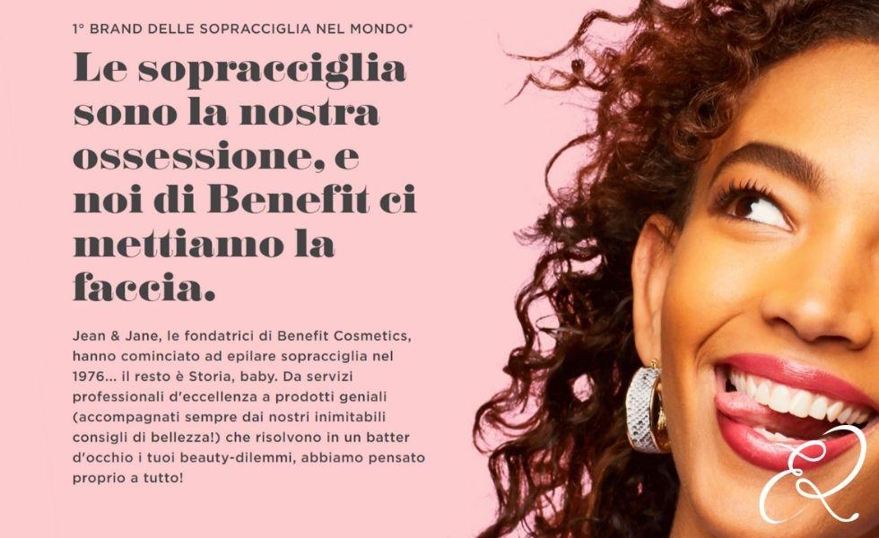 Servizio brow bar Benefit Cosmetics